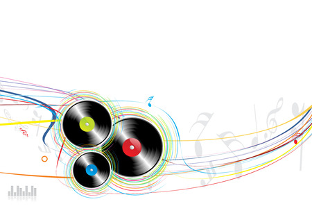 vinyl disk player: Vinyl Rasta with wave background Illustration