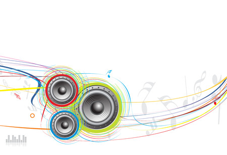 speaker wave line background with music note
