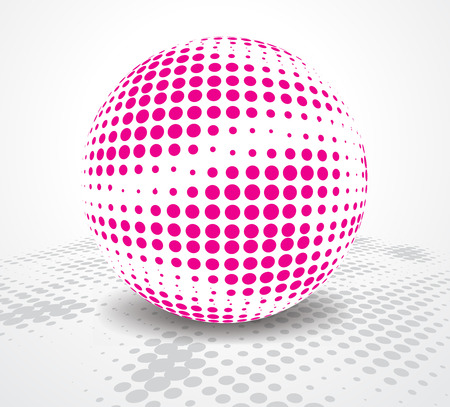 mirrored: halftone retro party background with disco ball, illustration Illustration