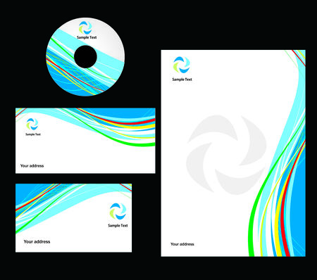 corporative: abstract wave line style Business card. Vector illustration Illustration