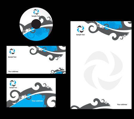 headed: abstract swire Business card. Vector illustration
