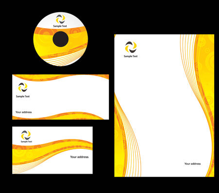 corporative: abstract wave line retro style Business card. Vector illustration