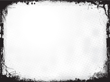 Grunge frame with halftone background