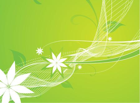 floral wave line background Vector