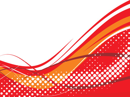 abstract halftone wave background with red wave line. Vector