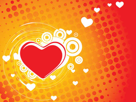 Valentine Day halftone wave line background with heart Vector