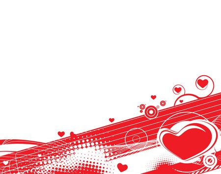 Valentine Day grunge halftone wave line background with heart Vector