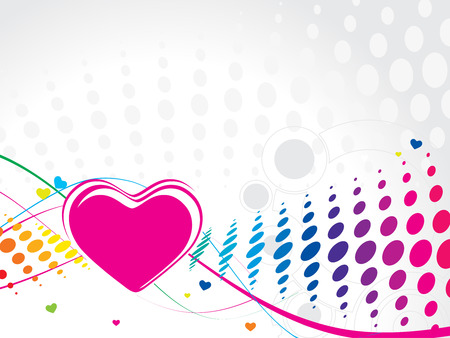 Valentine Day retro halftone wave line background with heart Vector