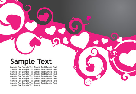 Valentine Day swirl wave line background with heart Vector