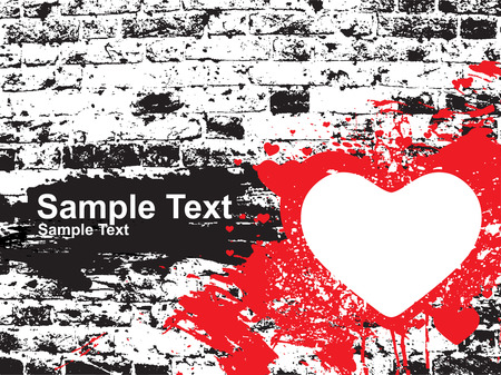 grunge brick wall with sample text heart Vector