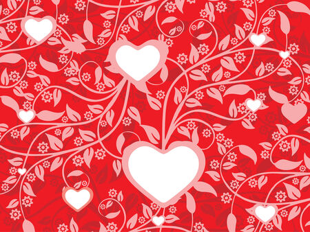 Valentine Day floral background with heart Vector
