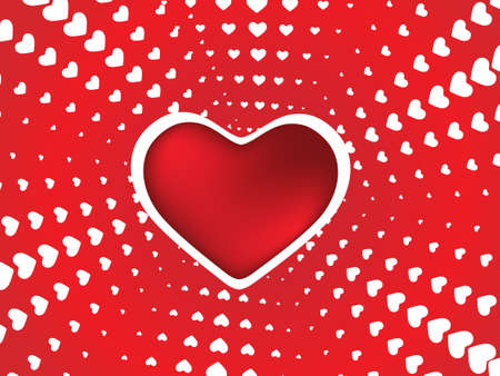 Valentine Day wave halftone  background with heart Vector