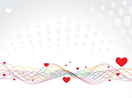 Valentine Day wave line background with heart Vector