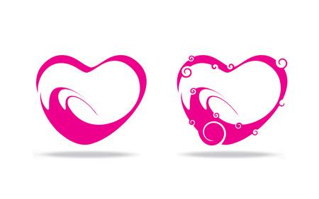 swirl romantic heart background, vector illustration Vector