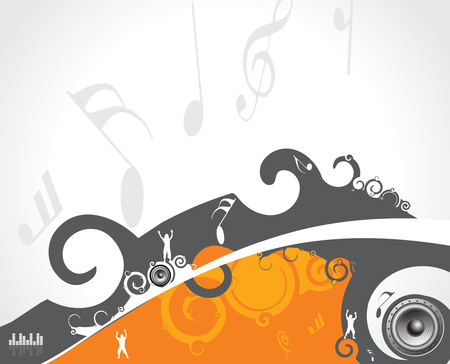 abstract swirl speakers background with music note, vector illustration