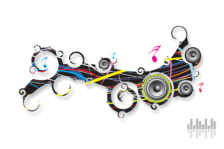 Abstract line swirl music background with music note . Vector illustration.