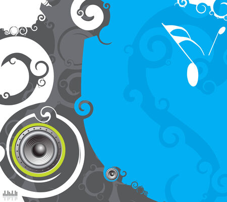 Abstract line swirl music background with music note . Vector illustration. Vector