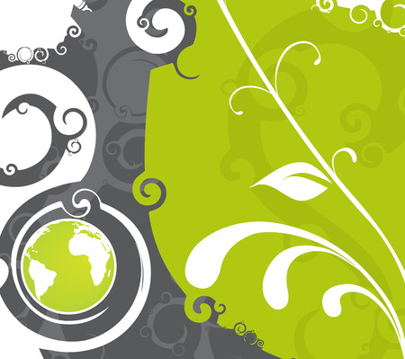 Earth with swirl floral elements Vector