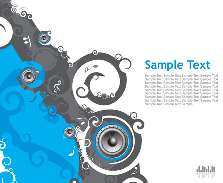 Abstract line swirl music background with music note . Vector illustration. Stock Vector - 4770930
