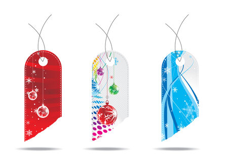 three diffrent Glossy Christmas gift tags Vector