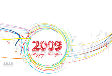 2009 wave line element for music note design - New Year background Vector
