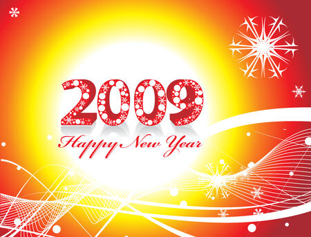 2009 wave line element for design - New Year background Vector