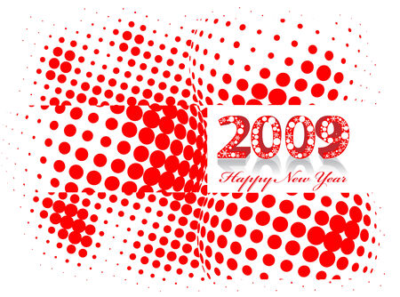 2009 wave halftone element for design - New Year background Vector