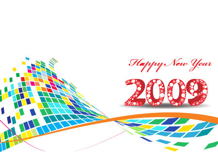 2009 mosaic background element for design - New Year background Vector