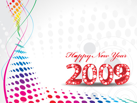 2009 wave halftone new year composition.Vector illustration