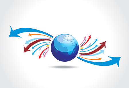 abstract arrow background with  globe Vector