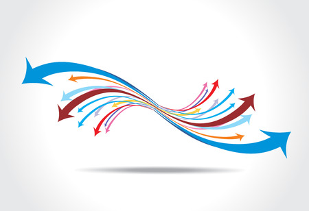 abstract arrow background with red wave line. Vector
