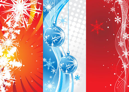 Abstract wave background with Christmas toys & snowflakes . Vector illustration Vector