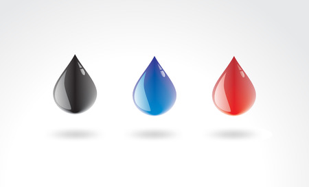 tear drop: Sparks of color water on a white background ... Illustration