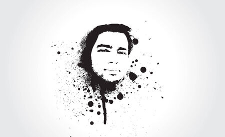 portrait made out of ink Stock Vector - 4797950