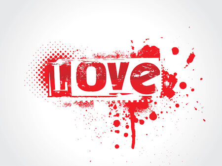 Love Grunge Text Vector
