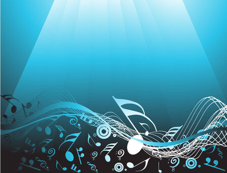 entertainment: Blue abstract background with music notes Illustration