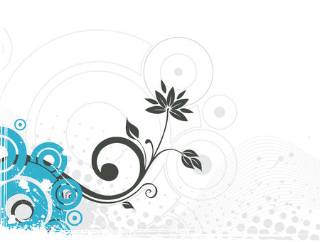 grunge floral vector with half tone background Vector