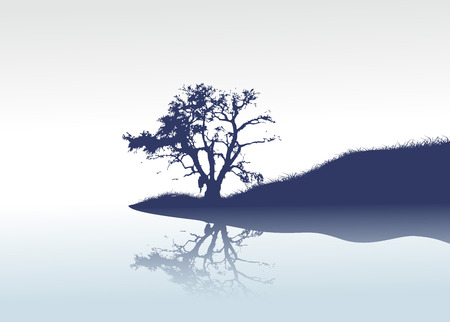vector lonely tree and mirror river Vector