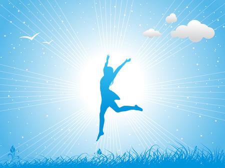 Chica saltando contra el cielo azul