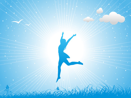 woman freedom: Girl jumping against the blue sky Illustration