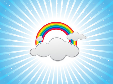 Colorful design with clouds and rainbows Vector