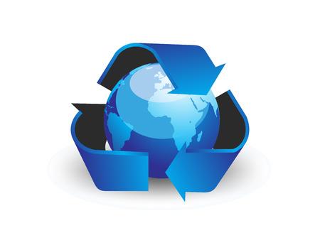 globe with recycle arrow symbol - vector Vector