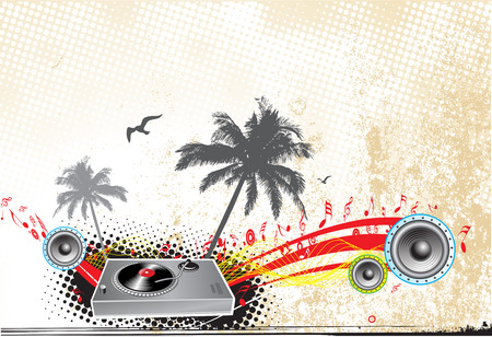 Music scene with abstract grunge background Vector