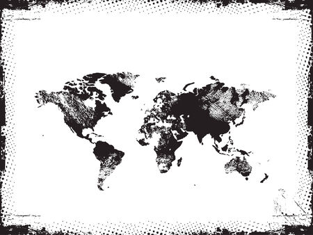 worldmap: Grunge map of the world in black