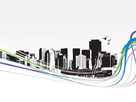 Big City - Grunge styled urban background. Vector illustration. Stock Vector - 5023834