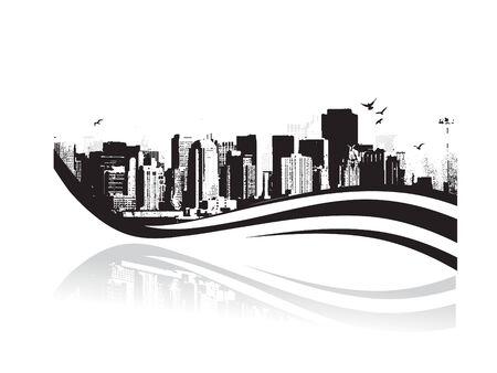 Big City - Grunge styled urban background. Vector illustration. Stock Vector - 5023863