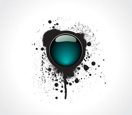 glossiness: Grunge & hi-tech vector button. Illustration