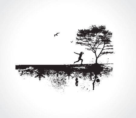 vector Grunge background with Jumping Girl Vector