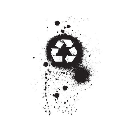 Vector illustrations ecology symbol icons: grungy icons (splatter and dirt textured - highly detailed). Vector