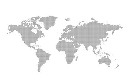 Carte du monde en pointillé vecteur. Couleurs de changement facile.